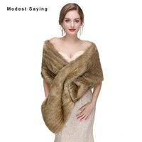 Nuovo 2017 Brown Faux Fur Wedding Wraps Moda Formale Coprispalle Da Sposa Inverno Scialli di Pelliccia Caldo Da Sposa Boleros Wedding Accessories