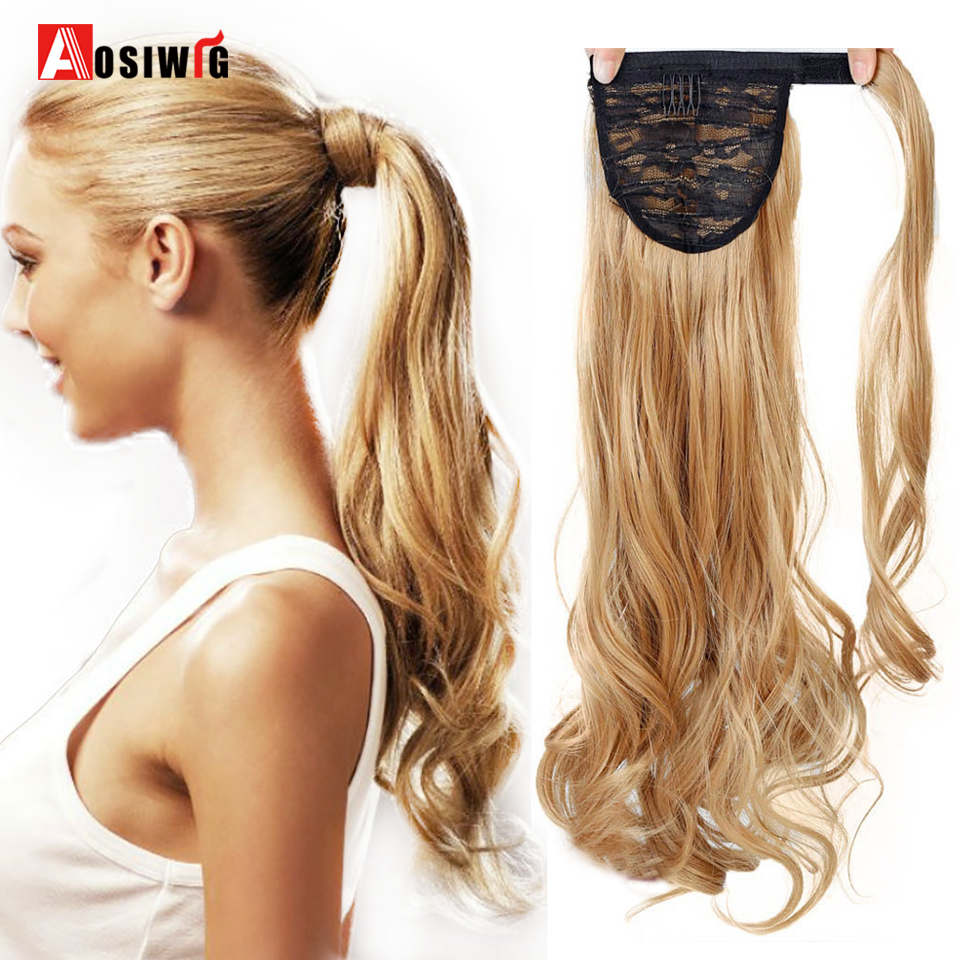 20 100g Long Wavy Synthetic Wrap Around Ponytail Hairpieces Fake Hair Ponytail Extensions AOSIWIG