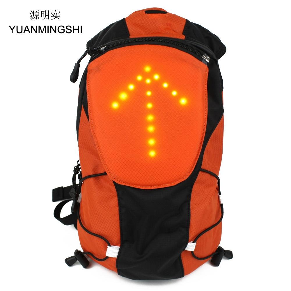 YUANMINGSHI motociklų atspindinčios kuprinės krepšys su belaidžiu saugumu Dviračių sauga LED kuprinė 5L su nuotoliniu valdymu