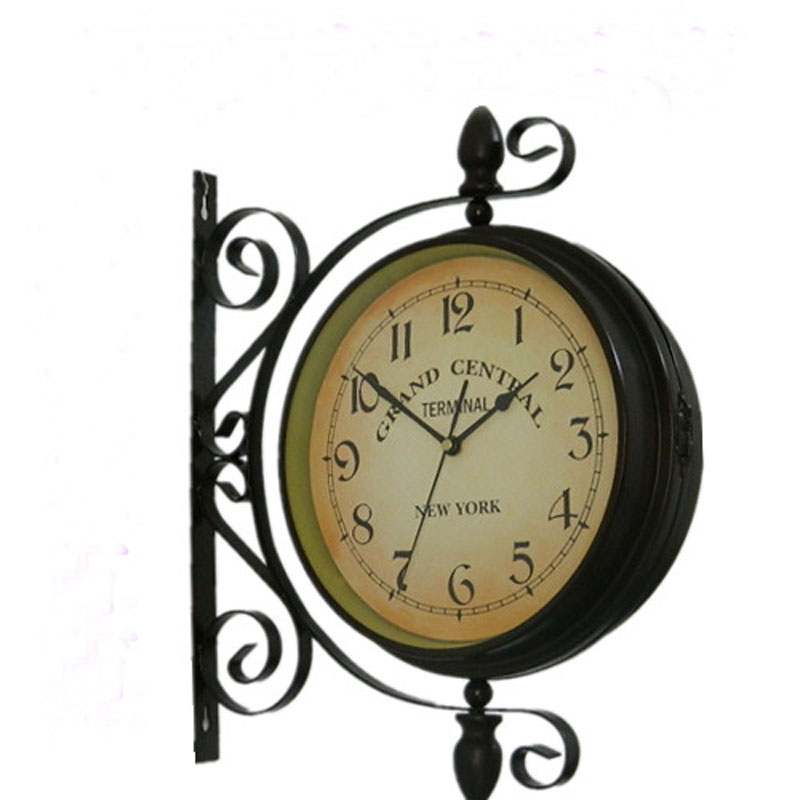 retro metal double sided wall clock european style garden vintage wall clock metal mute two sided home wall clocks from home