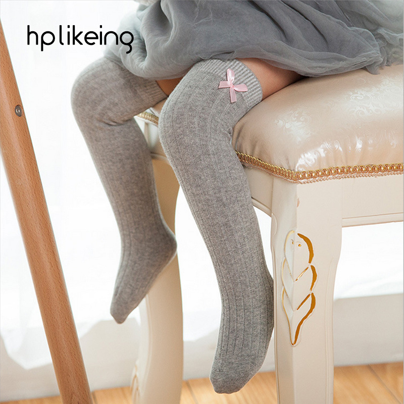 Hot Baby Girls Knee Long Cotton Socks Spring Autumn Kids Bow High Socks Leg Warmers 6 Colors socks for girls