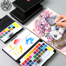 Buy 12/18/36Color Professional Watercolors Set With Water Color Brush Box For Watercolor Painting Pigment For Drawing Art Supplies directly from merchant!