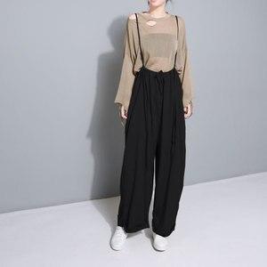 Image 5 - [Eam] 2020春の新作ハイウエスト巾着ルーズビッグサイズロングwasy着てワイド脚パンツ女性ズボンファッションJF545