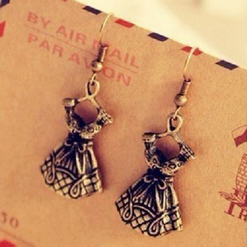 Fashion Jewelry High School Girl Retro Bronze Dress Dangle ...