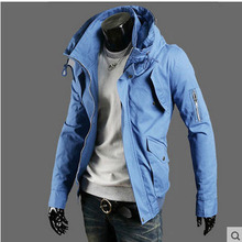 2015 new men's slim spring jacket black/army green/blue plus size coat cotton stand collar long sleeves casual clothings S1457