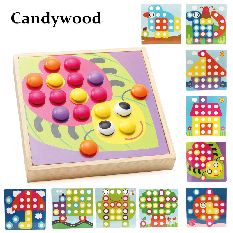 Candywood Wooden Baby Educational 3D Puzzles Toy Creative Mosaic Mushroom Nail Kit Button Art Toy for kids Boy Girl gifts 1 pc color random new baby kid cartoon animals fruits dimensional puzzles toy jigsaw puzzles educational toy for children gift