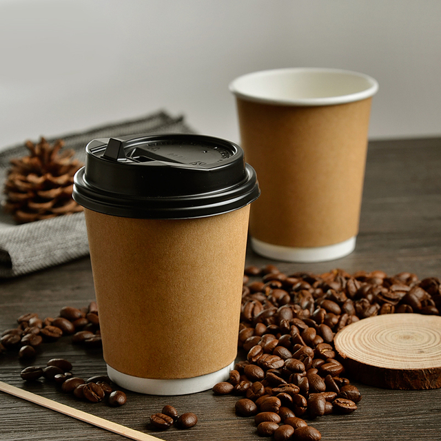 8oz Eco Friendly Thick Kraft Paper Coffee Cup Cafe Hotel Disposable Water Party Supplies 100pcs