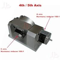 CNC делительная головка ЧПУ 5 оси harmonic зубчатый патрон мм 100 мм 4th aixs ось вращения бабки