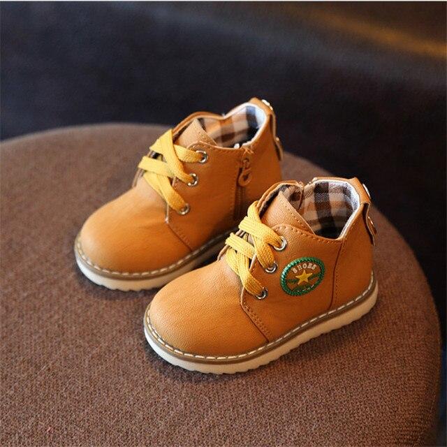 סתיו/חורף ילדי מגפי בנות בני עור גומי מרטין מגפיים עמיד למים אופנה תינוק ילד ילדה נעליים לילדים מגפיים 21-30