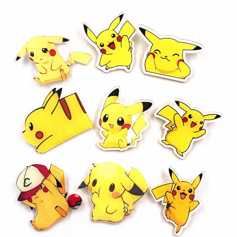 1 Pcs Baru Acrylic Kartun Lencana Pokemon Anime Ikon Bros Pikachu Pin untuk Dekorasi Pakaian Ransel Syal Hat