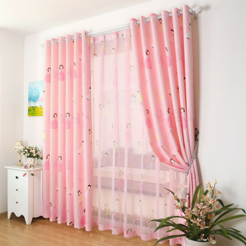 Blackout Princess Window Curtains For Living Room Pink Girl Drapes ...