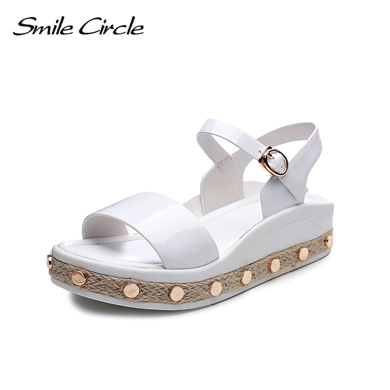 Smile Circle Summer Patent leather Sandals For Women Fashion Metal straw Casual Shoes Woman Flat Platform