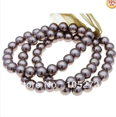 """New Arriver Shell Jewellery 8MM Round Shaper 3 Line Brown Sea Shell Pearl Stretch Bracelet 8"""" Wholesale New Free Shipping"""