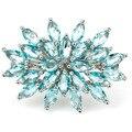 8 # Мода Голубой Топаз SheCrown женщины Обручальное Создания Серебряное Кольцо 26 х 20 мм
