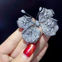 Унисекс насекомых 925 Серебряное кольцо с кубическим цирконием, булавки, брошка, бабочка лист Бабочка, модное ювелирное изделие для женщин и