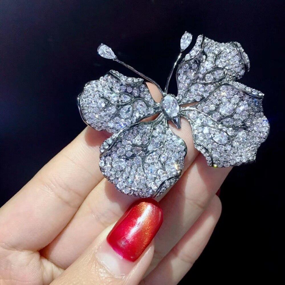Unisexe insecte 925 en argent sterling avec zircon cubique papillon broche broches feuille papillon mode bijoux pour femmes et hommes