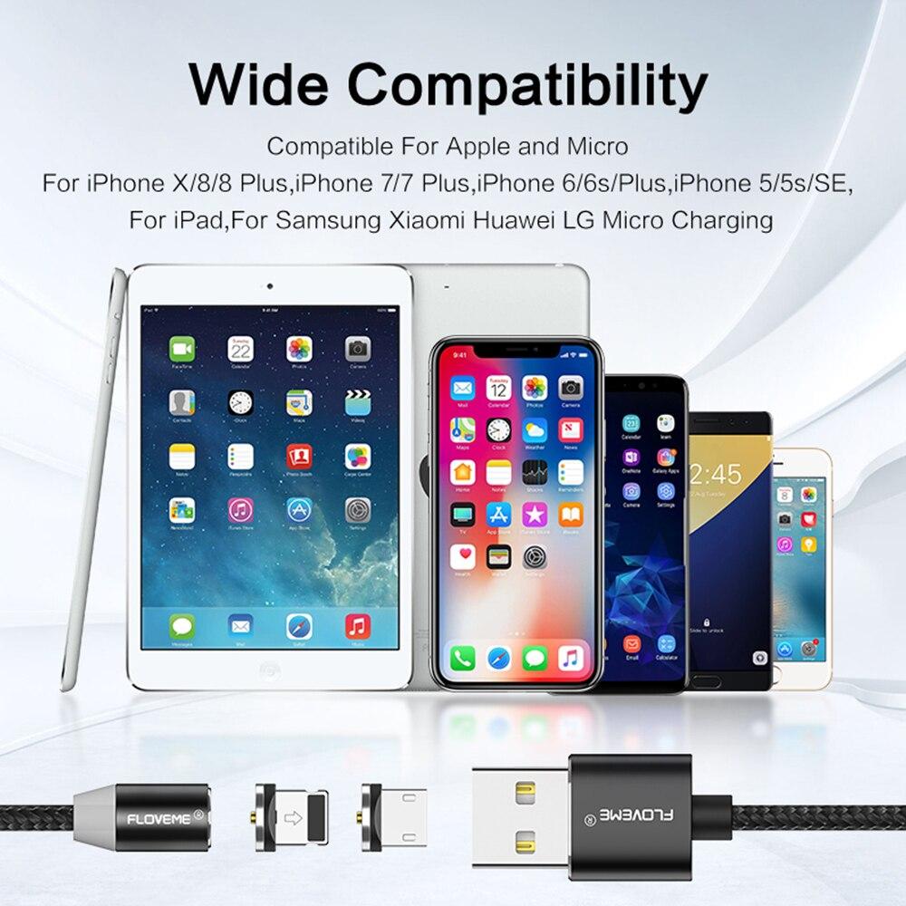 Floveme 1 м Магнитный кабель USB для IPhone х Micro USB кабель Магнитная Зарядное устройство для Samsung Мобильный телефон Xiaomi магнит microUSB Cabo провод зарядка ...