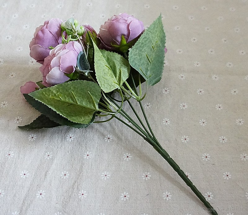Silk Rose Peony Artificial Flowers Small Bouquet For Wedding Decoration 12