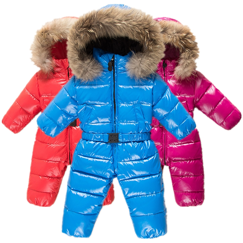 b62a5f63f23d Detail Feedback Questions about Winter Baby Warm 90% White Duck Down Rompers  Infants Raccoon Big Fur Collar Hooded Jumpsuits Child Detachable Windproof  Ski ...