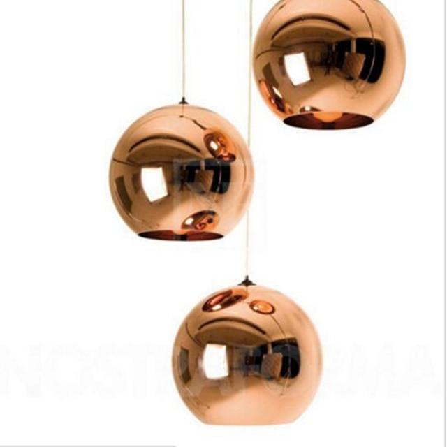 Lukloy lâmpada pendente de bola de vidro, estilo moderno, espelhado, de cor de cobre, iluminação moderna, luminárias 1 peça