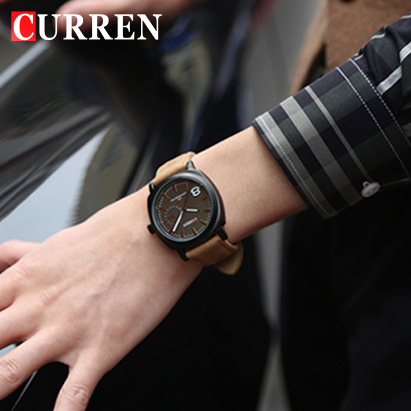 6fd92e996f2 Curren 8139 Homens De Luxo Da Marca Relógio de Quartzo Pulseira de Couro  Casual Relógios Homens Do Exército Militar relógio de Pulso Relógio de  Esportes Ao ...