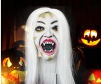 Super Terror Halloween Mask Bride White Hair Black Face Bar Decoration Items Latex Face Mask