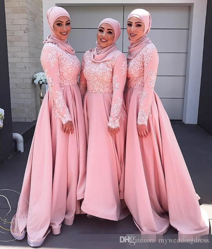 Árabe Musulmán Vestido de dama de honor Larga Vestidos de Fiesta de ...
