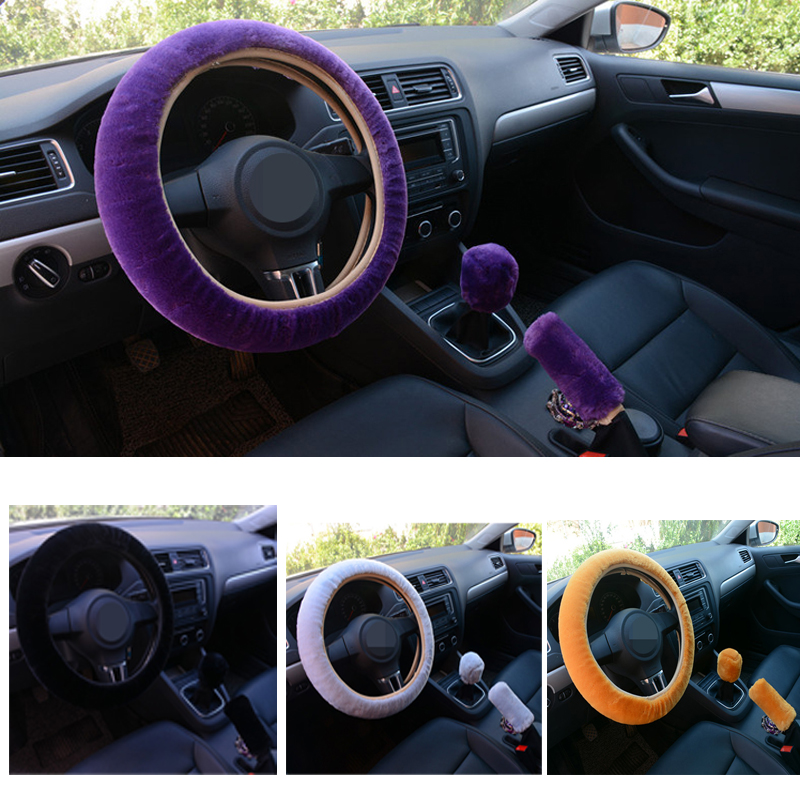 3Pcs Winter Plush Fur Car Steering Wheel Cover Hand Brake Handbrake Cover Gear Knob Cover Fluffy Soft Grab Car Styling universal car styling handbrake sleeve silicone gel cover anti slip multicolored parking hand brake sleeve car accessory