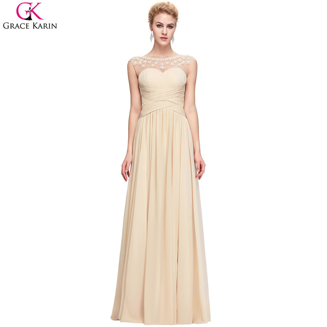 40572db27a Grace Karin Long Evening Dresses Chiffon Sleeveless Backless Beaded  Applique Elegant Formal Gowns Engagement Wedding Party