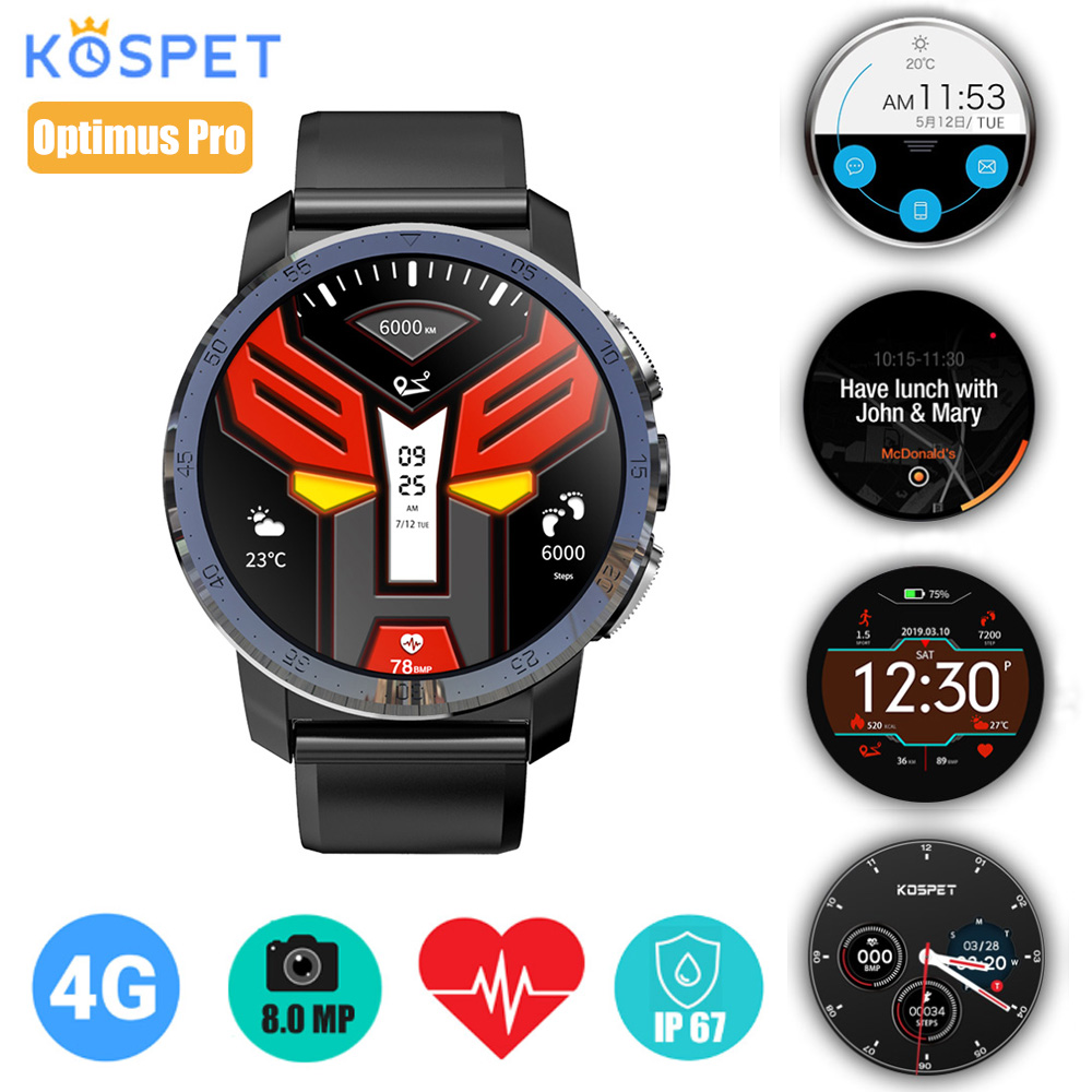 Kospet Optimus Pro Smartwatch téléphone avec GPS 4G montre étanche Android 7.1.1 2 GB 16 GB/3 GB 32 GB WiFi montre intelligente hommes