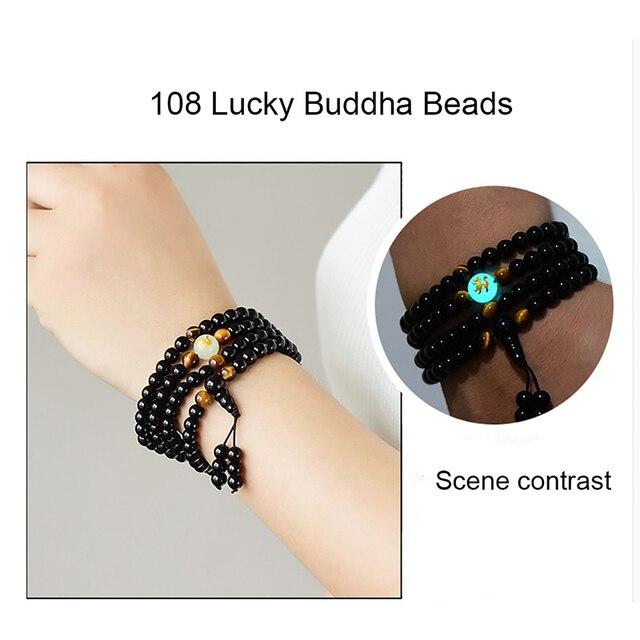 BOEYCJR Black Buddha Beads Bangles & Bracelets Handmade Jewelry Ethnic Glowing in the Dark Bracelet for Women or Men 2018 2