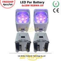 Litewinsune 4/LOT FREESHIP Battery Par LED Light 6*18W RGBWA UV 6IN1 Par Light 2.4G Wireless WIFI Phone IR Remote Control