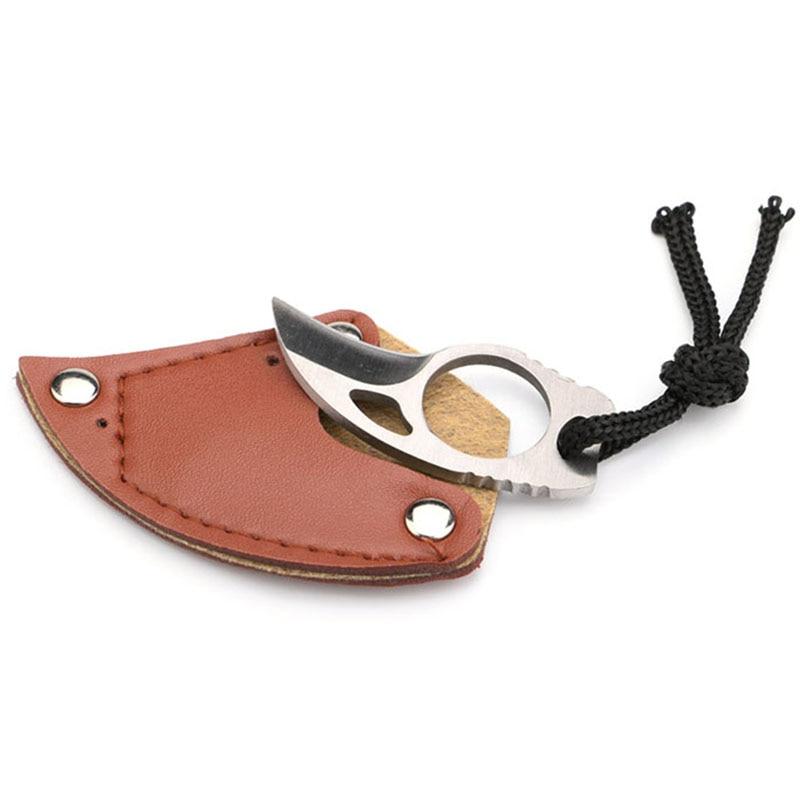 چند چوبی قابل حمل چاقوی کمپینگ در فضای باز Pocket EDC Survival ابزارهای امنیتی دفاع شخصی مینی پنجه چاقوی برش مورد چرم