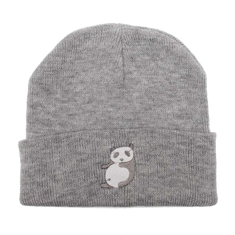 Fashion Style Hat Ladies Spring and Autumn Knitted Warm Hat Lovely Animal Panda Embroidery Beanies Cap Men's Winter Hat Gorro zea rtm0911 1 children s panda style super soft autumn winter wear cap scarf set blue