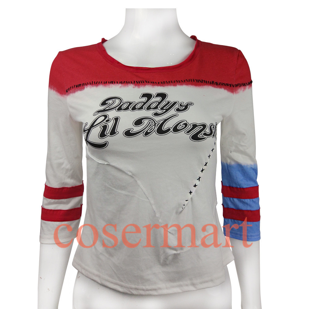 Suicide squad harley quinn costume t shirt daddy's lil monster t-shirt joker cosplay costumes without holes-0