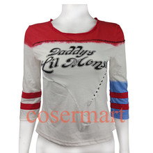 Suicide squad harley quinn costume t shirt daddy's lil monster t-shirt joker cosplay costumes without holes