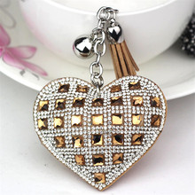 Fashion Keychain Heart Shape Female Full Glass Beads Key Covers Mosaic Leather Fringed Key Chain Car Ring Cap Gift