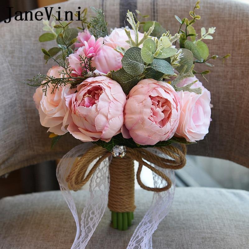 JaneVini 2018 Flores Artificiales Estilo Europeo Ramos de Novia para - Accesorios de boda