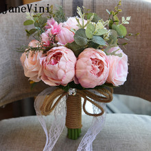 JaneVini 2018 Europeisk stil Konstgjorda blommor Bröllopbuketter för Bride Crystal Peony Lace Brooch Bouquet De Mariage 7 färger