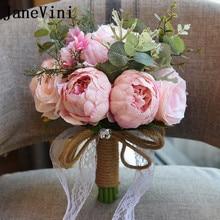 JaneVini 2018 Gaya Eropa Bunga Buatan Karangan Bunga Pernikahan untuk Pengantin Kristal Peony Renda Bros Bouquet De Mariage 7 Warna