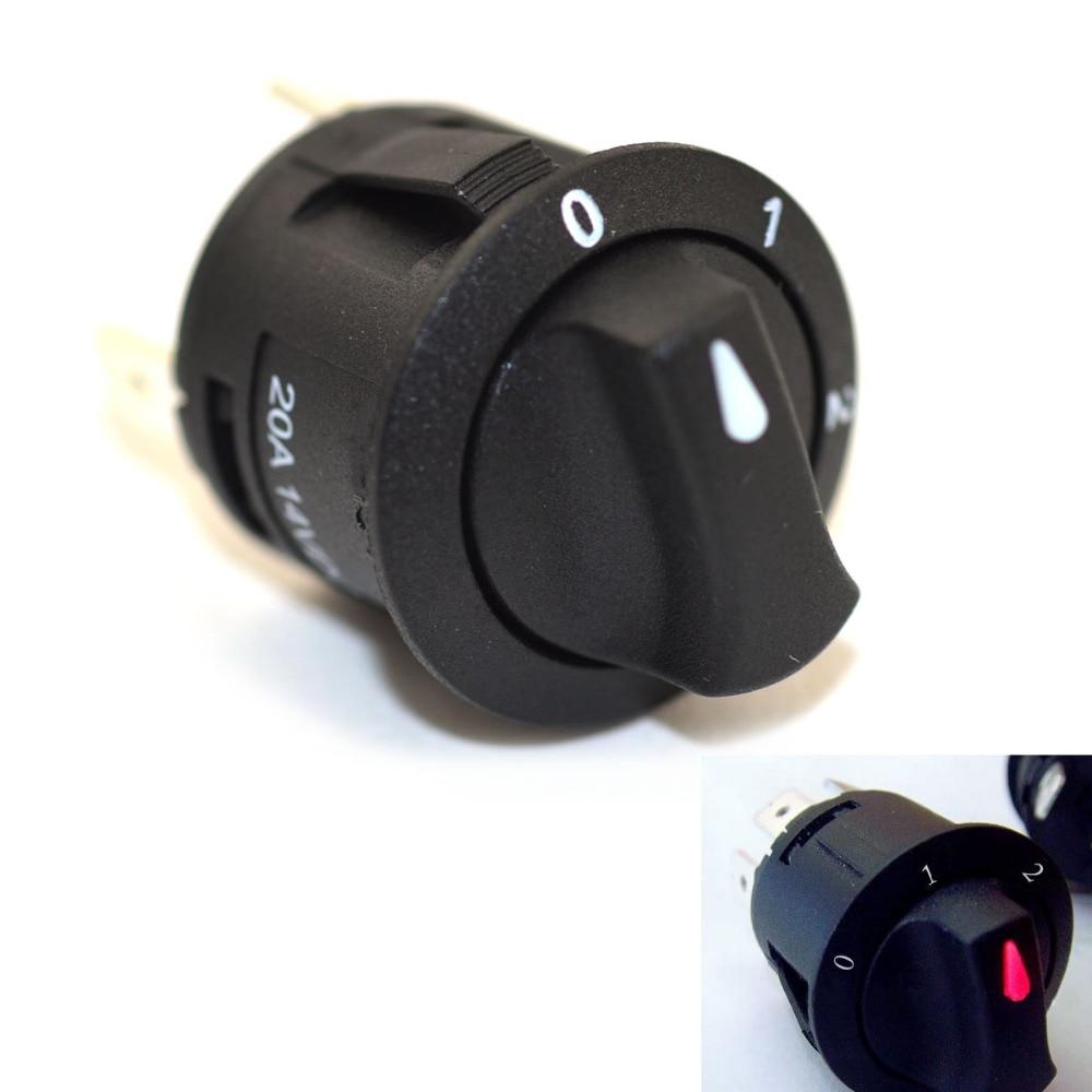 Jtron 14 V 20A 3 Commutateur Rotatif vitesse rouge LED SPDT OFF-ON-ON Commutateur Rotatif