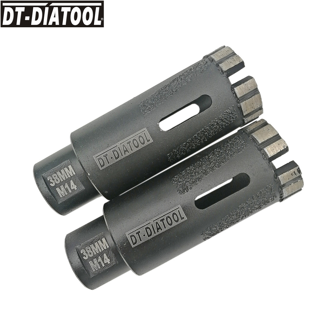 DT DIATOOL 2pieces Dia 38mm Laser Welded Diamond Dry Drilling Hole Saw Core Bits With Side Protection M14 Connection Dry or Wet