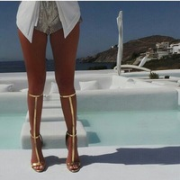 summer hot selling knee high gold crisscross strap long sandals T bar high heel sandal boots dropship size US10