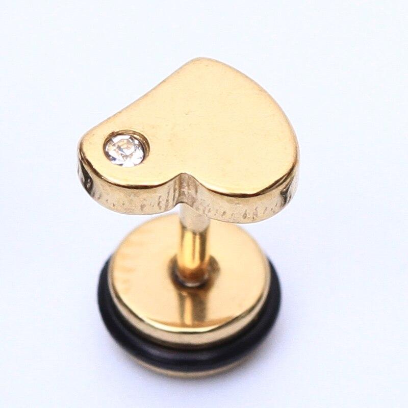 2pcs Fashion Stainless steel earrings Heart and gem shape Unisex body jewelry piercing earrings for women men stud earrings