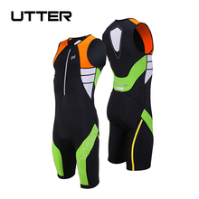 купить UTTER Armour A2 One Piece Black and Green Cycling Jersey Set Anti-UV Men Triathlon Suit Sleeveless Cycling Clothing Bicycle Wear дешево