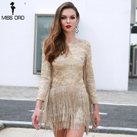 Missord 2018 Sexy O Neck Long Sleeve Tassel Glitter Elegant Gold Dress FT8580 1