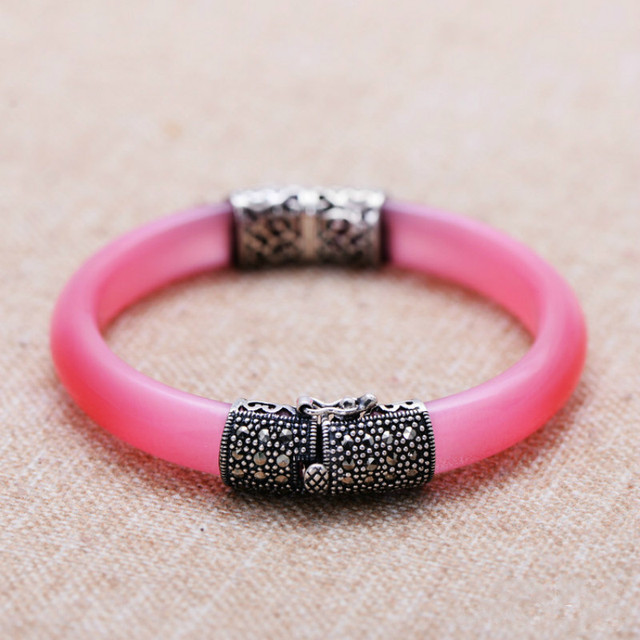 925 Sterling Silver Bangles Women Vintage Thai Silver Mosaic Pink Opal Natural Stone Real Jade Jewelry