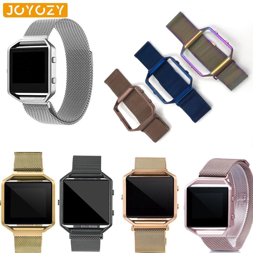 23mm Mesh  Loop Strap + Metal Frame For Fitbit Blaze Stainless Steel Watch Band Magnetic Lock Bracelet Black Rose Gold Silver