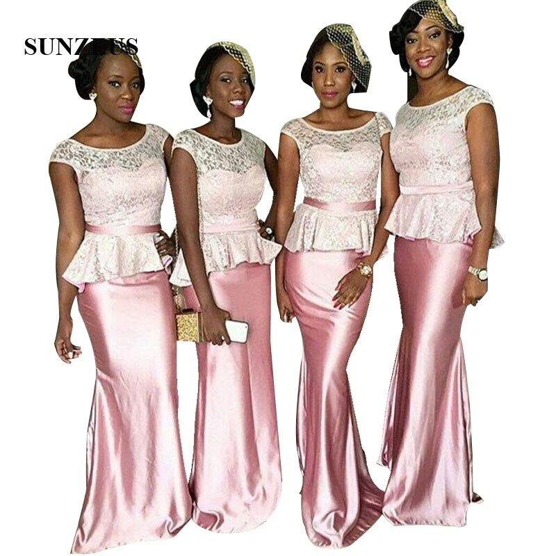 Cap Sleeves Lace   Bridesmaid     Dress   Sheath Long Wedding Party Gowns Pink Elegant Women Formal   Dresses   vestido de damas de honor