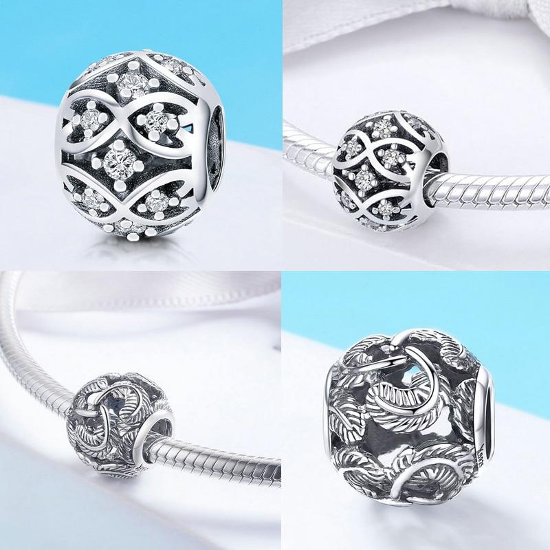 BISAER berloque 925 Sterling Silver Heart Heart Charms Lule rruaza - Bizhuteri të modës - Foto 5